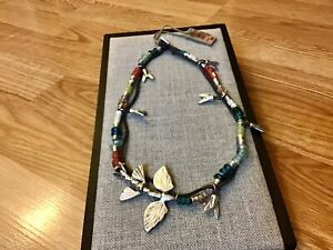 "NWT Uno de 50 Silver-plated/Glass Beads/Bird Charm Necklace ""Freixe"""