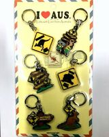 12pc Australian Souvenir Rubber Key Ring Road Sign Australia Key Chain Set