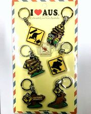 12pc Australian Souvenir Rubber Key Ring Road Sign Australia Key Chain Set