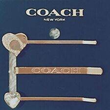 Genuine COACH Signature Heart 3- piece Set of Hair Clips in Rose Gold BRAND NEW!