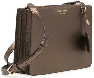 Kate Spade Womens Eva Leather Crossbody Shoulder Bag Purse Ash Metallic WKRU6010