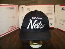 BROOKLYN NETS GENTLY USED BLACK CAP HAT MITCHELL&NESS ADJUSTABLE NICE SHAPE