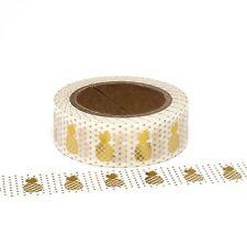 Pineapple Washi Tape Gold Foil Metallic Polka Dots Spots 15mm x 10m