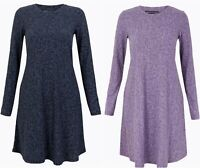 M&S Womens Floral Swing Dress Long Sleeve Flared Tunic Ladies Gift RRP£40 BR208