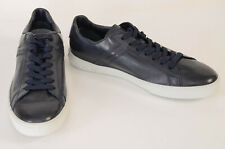 Tod's navy blue 12 leather round toe low top trainer sneaker UK11 shoe NEW $595