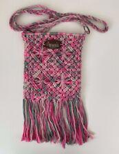 O'Neill Pink & Grey Crochet Tassel Crossbody Bag Boho Hippy Surfer Style