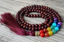 Rosewood mala buddha prayer beads tassel meditation 7 chakra necklace yoga 108