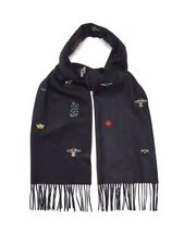 New With Tags Gucci Blue Embroidered Silk & Cashmere 475366 Scarf/Wrap $810.00