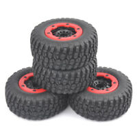 4X 1:10 12mm Hex F/ RC Car TruckShort Course Rubber Truck Tires BeadLock Wheel