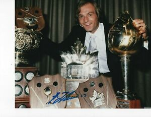 HALL OF FAME GUY LAFLEUR SIGNED WITH TROPHIES 8X10 MONTREAL CANADIENS