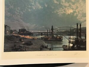 Stobart Signed Print.  Pittsburg, Moonlight Over The Monogahela (RARE)