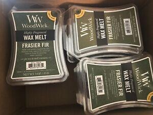 WOODWICK HIGHLY Fragranced FRASIER FIR WAX MELTS 3oz HUGE LOT 15 PACKS 90 Total!