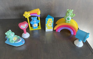 Care Bears Playset Bears Cloud Rainbow Swing Boat  Sign Vintage Toy Lot