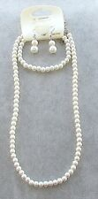 Parure di PERLE 6mm Collana Bracciale Orecchini Gioielli da Donna