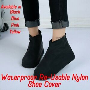 BLACK NYLON WATER PROOF, NON-SLIP & RE-USABLE SHOE COVER FOR CYCLING SHOES LARGE