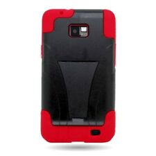 For Samsung Galaxy S2 i777 Case Hard Silicone Hybrid Stand Cover Red Black