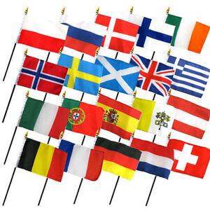 "Set of 20 European Countries 4""x6"" Desk Table Stick Flag (No Bases)"