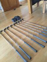 titleist golf clubs full set L/H,,irons. Extended steel Shafts