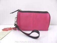 CHANCEBANDA Women's Bags  Leather Pink and Black Clutch Purse Wristlet
