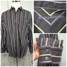 Men's Tommy Bahama Long Sleeve Dress Shirt Gray Purple Stripes XL Silk