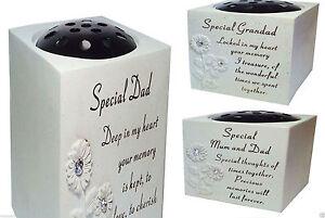 New diamond grave Memorial Flower Holder Vase Stone Plaque Sentimental Pots