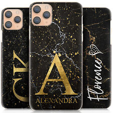 Personalised Initial Phone Case, Black Marble Hard Cover For Apple iPhone 11/X/8