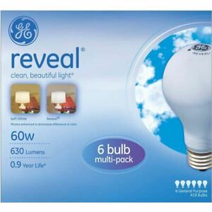 GE Incandescent 60W Reveal Light Bulbs, Medium Base, Dimmable, 72pk