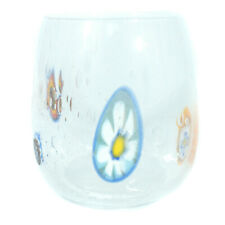 Murano Glass Drinking Tumbler Candle Holder Clear Glass Red Handmade Millefiori