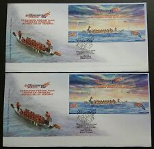 2008 Malaysia Dragon Boat M/S + imperf MS on 2 FDC (Pulau Pinang)