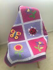 Butterflies and Flowers Handmade Patchwork Baby Girls Quilt Set