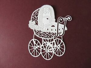 Die Cuts Tattered Lace Vintage Pram Die Cuts for Baby Shower New Baby Cards