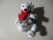 "5"" plush bean bag Polar Bear doll w/scarf & shirt, made by Coca Cola Collection"
