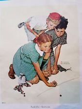 KNUCKLES DOWN by Norman Rockwell  1972 CURTIS PUBLISHING CANVAS LITHO REPRINT