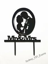 WEDDING BRIDE AND GROOM ACRYLIC CAKE TOPPER SILHOUETTE MR & MRS PARTY SUPPLIES