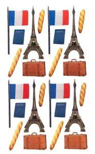 Paris Travel Stickers -  Eiffel Tower, French flag, Passport, Baguette & Valise