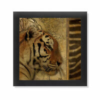 Elegant Safari II (Tiger) Black Framed Art Print Poster 12x12