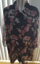Womens Size 26/28 Silk 3/4 Sleeve Button Blouse by Avenue Black Floral Design