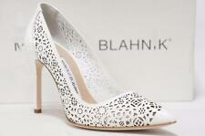MANOLO BLAHNIK BB LACER-CUT 105 POINTED TOE WHITE PATENT PUMP SHOE 36.5/6 $795