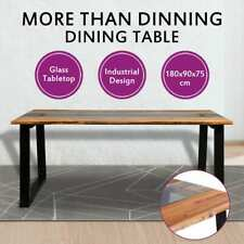 vidaXL Dining Table Solid Acacia Wood and Glass Kitchen Industrial Vintage
