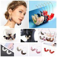 Fashion Geometric Acrylic Tortoise Shell Trapezoid Drop Dangle Earrings Jewelry