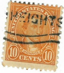 1923-31 XF Monroe 10 Cent HEIGHTS CANCEL NHNG US 642 Postage Stamp Perf 11x10.5