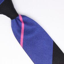 John G Hardy Mens Silk Necktie Large Scale Regimental Stripe Black Blue Pink Tie