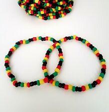 x2 Colourful Rasta Bead Bracelet Reggae Surfer Beach Hippy Holiday Gift Unisex