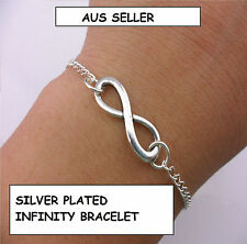 Silver Plated Infinity Bracelet with Lobster Clasp and Extension Chain AUS 136W