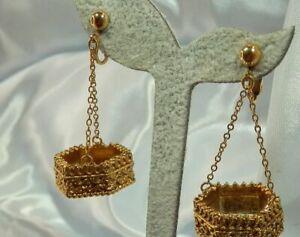Vintage 70's Cooooool Etruscan Royal Dangle Ornate Gold Tone Clip Earrings 612s1