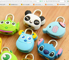 GT Cute Cartoon Silicone Mini Metal Travel Luggage Padlock Desk Safty Lock Key