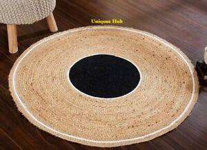 Rug Round Natural Jute Handmade Reversible Carpet Decor Modern Living Area Rugs