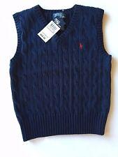 NWT Navy POLO Ralph Lauren Sweater VEST School FALL Wedding SZ 4 5 6