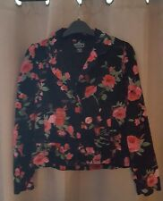 Ladies Womens Floral Roses 100% Cotton Jacket Black Size Medium