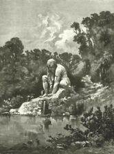 ITALY. Florentine nature. Colossal statue of Apennine Park at Pratolino 1877